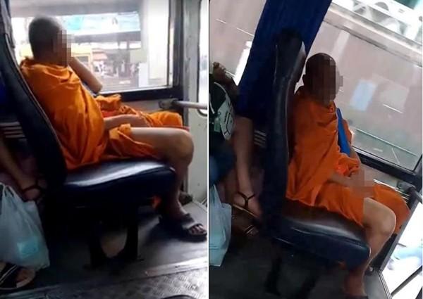 Phẫn nộ với hình ảnh: nhà sư biến thái ăn trộm đồ lót phụ nữ, tự sướng ngay trên xe buýt