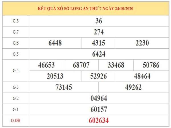 Nhận định KQXSLA ngày 31/10/2020 qua bảng kết quả kì trước