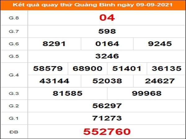 ✅ Quay thử kết quả xổ số tỉnh Quảng Bình ngày 9/9/2021 thứ 5